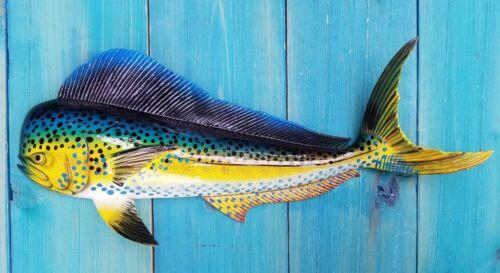 "Mahi Hand Painted 18"" Replica Dorado Wall Mount Sculpture Game Fish Salt Water"