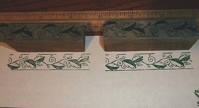 Antique 2 Ornate Borders Cut Printing Block Letterpress Kelsey 5x8 Vintage