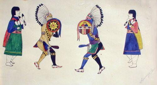 "20% OFF Tesuque Pueblo Painting LORENZO PINO ""Kiowa Dog Dance"