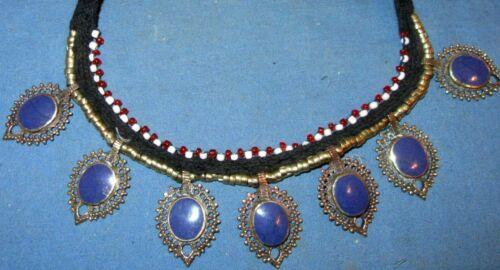 "Necklace Choker Gemstone Black String Afghan Tribal Kuchi Alpaca Silver 22"""