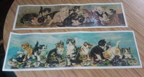 *2* VTG YARD LONG OF KITTENS PRINT 1982 GALLERY GRAPHICS QUALITY VICTORIAN STYLE
