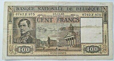 100 Francs, 1945, 1945-12-05, TB  Biljet, België Belgique #F3#