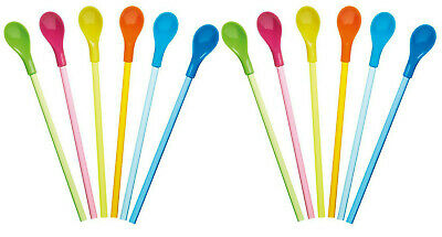 Coloured Plastic Spoons (Kitchen Craft Set Of 12 Colourful Plastic Spoon Drinking Straws - 24cm)