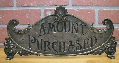 Antique AMOUNT PURCHASED Cash Register Topper Sign Double Sided Ornate