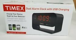 TIMEX Dual Alarm Clock with USB Charging LED Nightlight Large Display