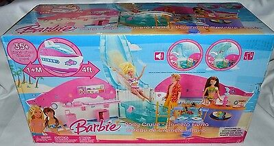 NIB-RARE-BARBIE 4FT. PARTY CRUISE PLAYSET-SOUNDS, LIGHTS, SLIDE + 35 ACCESSORIES
