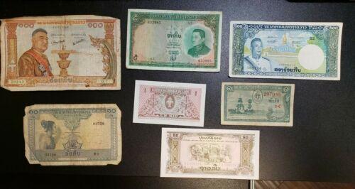 7pcs Laos Banknotes Circulated 1957-1968   721E