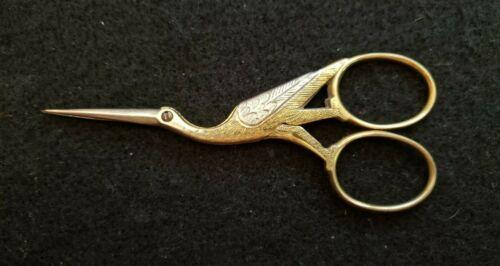 "Vtg Crane Stork Bird Sewing Scissors HSB & Co. Germany 3.5""~Gold & Silver Tone"