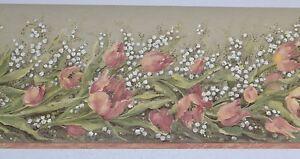 Sanitas PAINTED FLOWERS & BABY'S BREATH Wallpaper Border 5 Yards