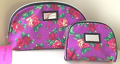 Betsey Johnson Cosmetic Case Set Twinkle Toes Purple 2 pcs Bag Clutch Make up