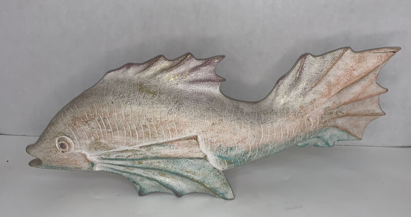 """Vintage Koi Fish Sculpture Indonesia Wood Hand-Carved 17"""" Long Cracked Tail"""