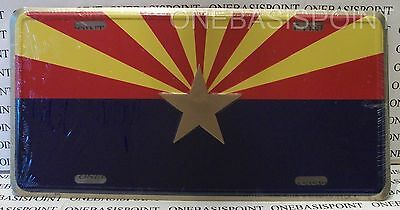 ARIZONA STATE FLAG LICENSE PLATE ALUMINUM STARBURST EMBOSSED SIGN CAR TAG AUTO