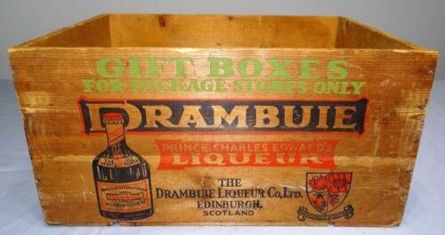 Vtg DRAMBUIE GIFT BOX Wood Crate Edinburgh Scotland RARE Schuetz Liquor Co. ILL