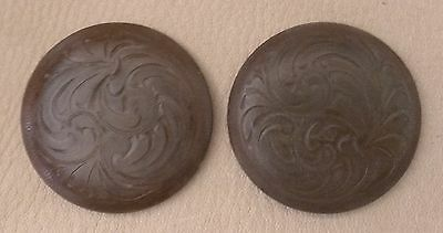 """Brown Iron Conchos w//Heavy Rope Edge /& Star 2-1 1//4/"""" Hand Engraved Rust"""