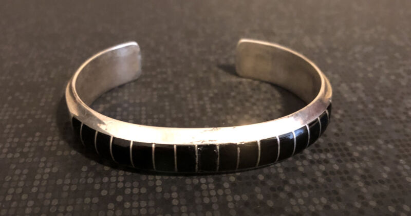 Vintage Sterling Silver Zuni Onyx Bracelet marked EL Gasper