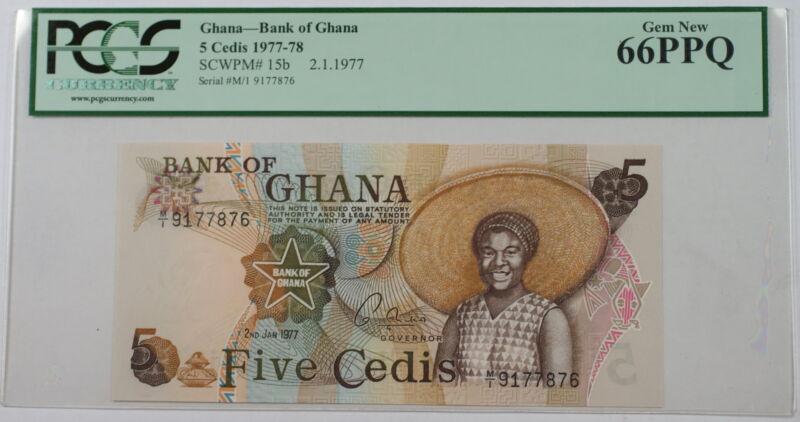 1977-78 Bank of Ghana 5 Cedis Note SCWPM# 15b PCGS 66 PPQ Gem New