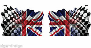 2-UNIQUE-UNION-JACK-CHEQUERED-FLAG-STICKERS-GRAPHICS