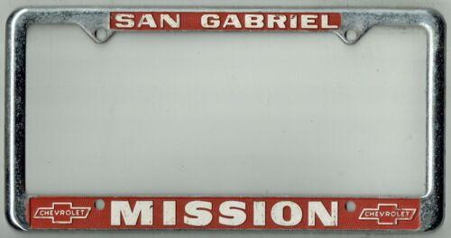 RARE San Gabriel California Mission Chevrolet Vintage Dealer License Plate Frame