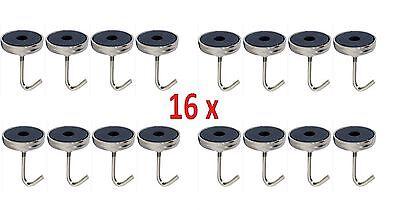 16 Piece Pack Rust Proof Zinc Plated Heavy Duty Magnetic Hook Key Storage Set