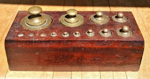 Vintage Brass Apothecary Weights in Wooden Box Set of 10