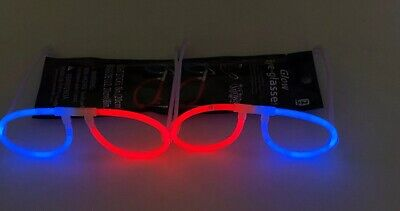 2 Pair Glow in the Dark Glasses Birthday Rave Party Favors Neon Glowing Sunglass - Sunglass Favors