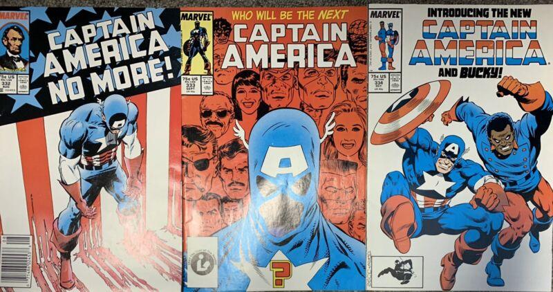 (1987) CAPTAIN AMERICA #332 333 334 1st John Walker as Cap! 1st Lemar Hoskins!