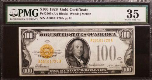 FR 2405. 1928 $100 Woods/Mellon Gold Certificate PMG VF-35