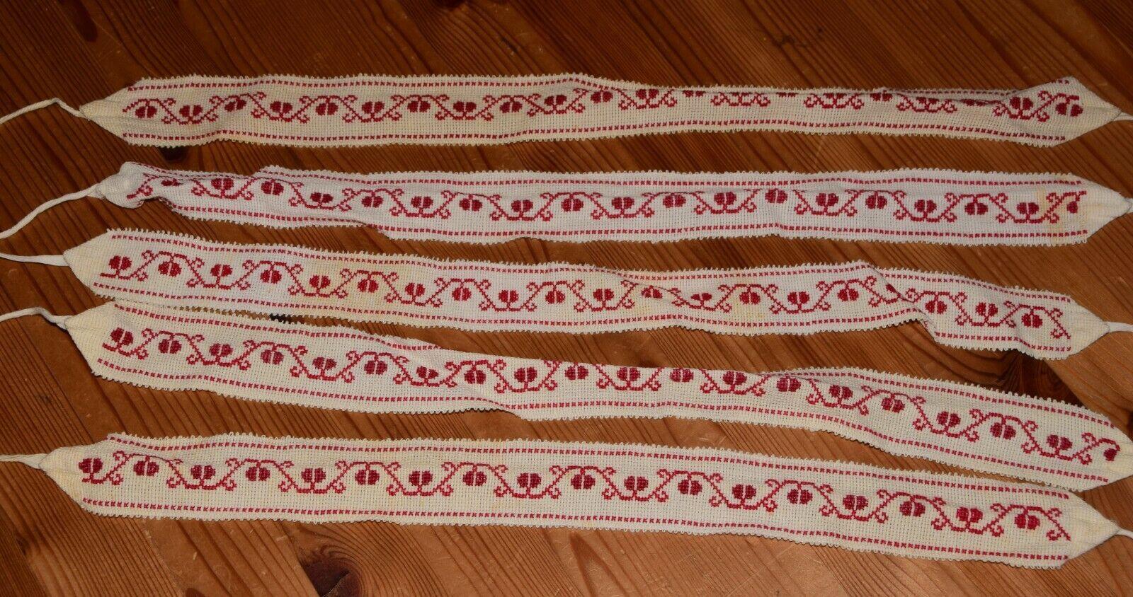 5 Antike alte Wäschebänder Bänder Band handbestickt rote Stickerei (6951)