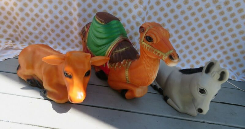 Vintage Empire CAMEL, COW and DONKEY Christmas Nativity Lighted Blow Molds