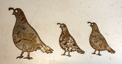 "Lot of 3 Quail Bird 4"" - 6"" Rough Rusty Metal Wall Art Ornament Craft Stencil"