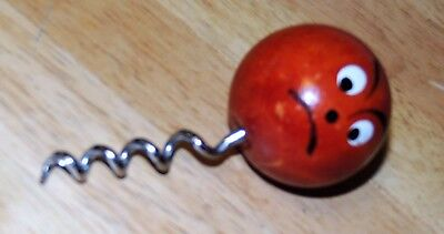 Orange Red ANGRY Face Hand painted wooden Ball Cork Screw Wine Bottle Opener  (Angry Face Painting)