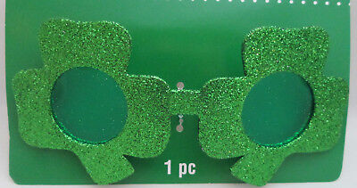 St Patrick's Day Shamrock Sunglasses Party Accessory - Sparkle Green