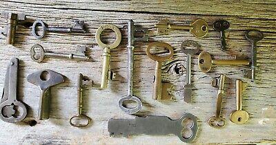Antique Vintage Key Lot Hollow Barrel Padlock Lock Brass Folding