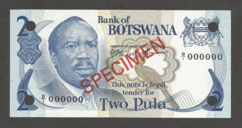 Botswana 2 Pula N.D. (1976); UNC; P-2s, L-B102as; SPECIMEN; Baskets, Roofing