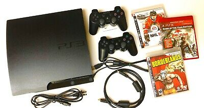 SONY PLAYSTATION 3 PS3 SLIM 150GB Console Bundle : 2 OEM Controllers + 3 Games