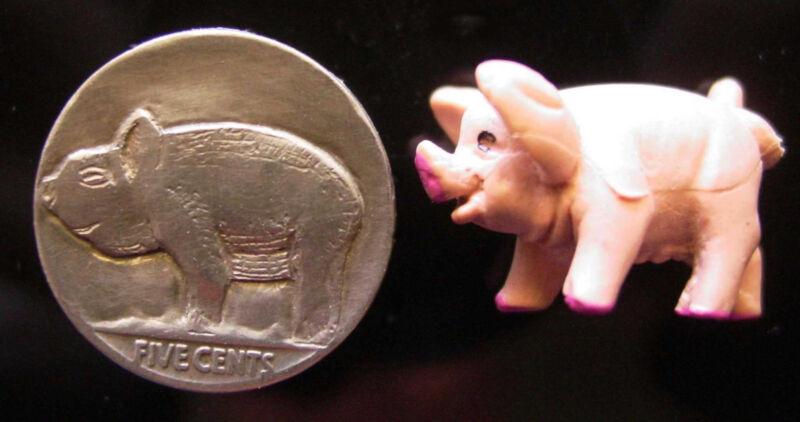 "Hobo Nickel.  ""Pigs in a Row""  Carved Buffalo Nickel"