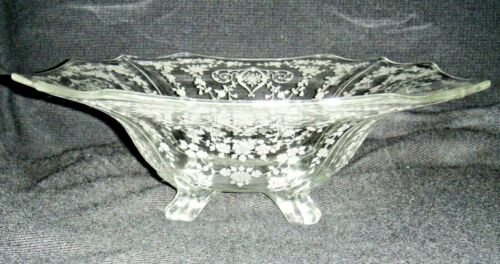 "VINTAGE CAMBRIDGE DIANE 12"" BOWL, 4 TOED SQUARE FOOTED FLARED BOWL, ETCHED"