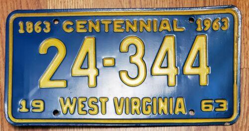 1962-1963 WEST VIRGINIA WV LICENSE PLATE TAG '24-344', CENTENNIAL plate, NOS