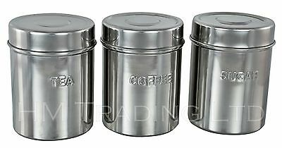 3Pc Stainless Steel Canister Jars Tea Sugar Coffee Kitchen Storage Pot Lids 10cm