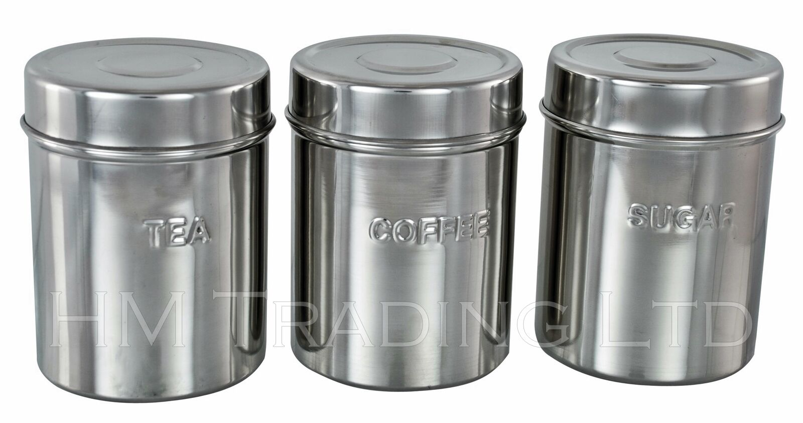 3pc Stainless Steel Canister Jars Tea Sugar Coffee Kitchen