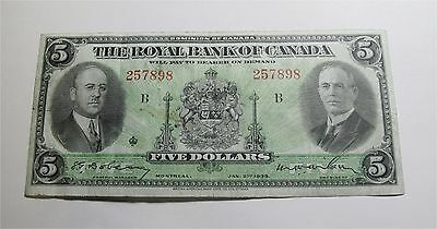 1935 Canada  5 Dollars Royal Bank Banknote Chartered Banknote Small Signature