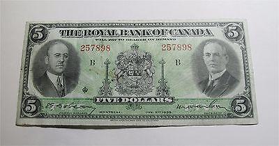 1935 Canada  5 Dollars Royal Bank Banknote Chartered Banknote Small Signature