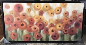 Orange Floral Wall Picture Brand New