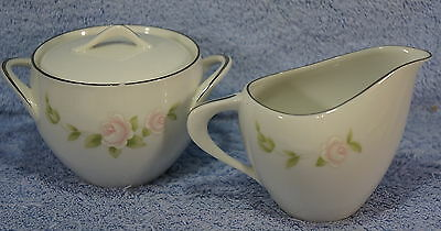 Style House Pink TUDOR ROSE Creamer and Sugar Bowl with Lid-No damage
