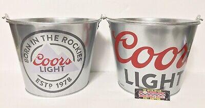 2.5 Quart Ice Bucket (Coors Light Beer Lot of (2) 5 Quart Galvanized Metal Ice Buckets - Brand New!!)