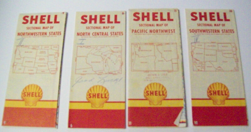 LOT OF 4 SHELL SECTIONAL MAPS NORTH CENTRAL,NORTHWEST, SOUTHWEST, PACIFIC NW