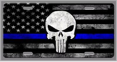 Punisher Thin Blue Line Police Car Vanity Tag  - License Plate