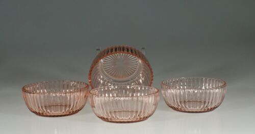 Set of 4 Vintage Hocking Glass Company Pink Queen Mary 4-1/2 Inch Bowls c.1930