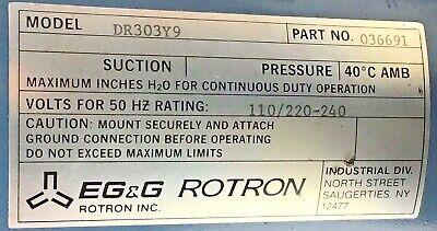 Rotron B6850-3 Motor Dr303y9 Regenerative Blower 036691 Egg Vacuum