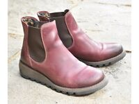 Women's Fly London Purple Leather Ankle Boots size 5 boxed